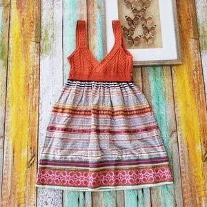 Free People Orange Knit Embroidered Mini Dress 6